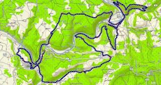 La trace d'origine que nous avons tracé au départ avec en supplément une petite dans Bruniquel , le reste de la trace correspond à notre parcours sauf à partir de la farge en fin de parcours cette trace passer par La ferme de Valeyres Boulbéne ,jusqu'au métairie des pauvres pour revenir sur Bruniquel. Nous avons été que jusqu'a la ferme de Valeyres puis nous sommes remonter à la Farge pour continuer la fin de parcours comme la fin de la boucle de Pech Trégon ( voir en dessous )