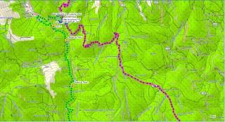La trace continu sur le Gr en rose et notre option sur route en vert.