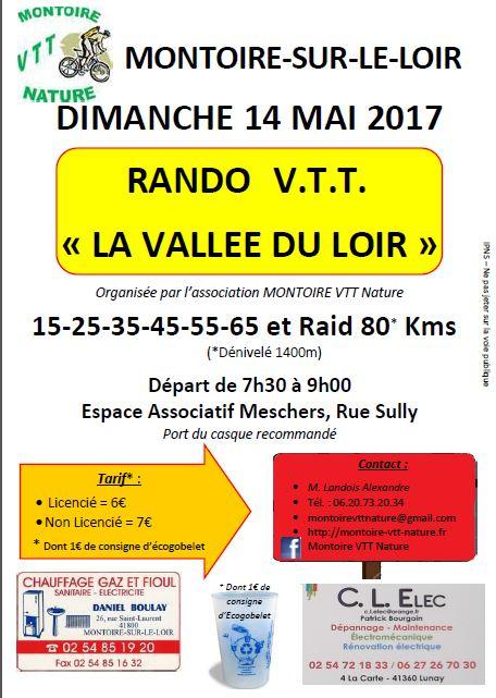 C.R Rando, raid VTT   «La vallée du Loir 2016» à Montoire-sur-le-Loir (41)
