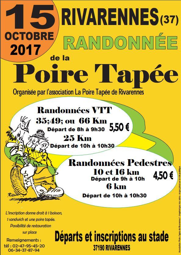 CR rando VTT «la poire tapée» 2017 à Rivarennes (37). Pas technique mais beau parcours en forêt de Chinon. 1000 participants (marcheurs etVTTistes).